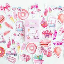 цена на 46Pcs/box Cute Girl Pink Stickers Scrapbooking Label Sticky Japanese Korean Kawaii Diary Paper Travel Lifelog Stationery Sticker