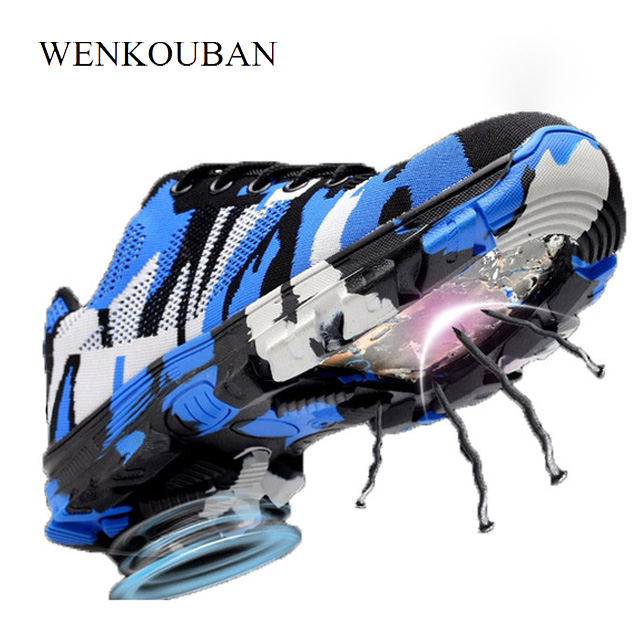 Camouflage Steel Toe Shoes Men Work Boots Breathable Work Safety Shoes For Man Steel Puncture Proof Construction Safety Boots