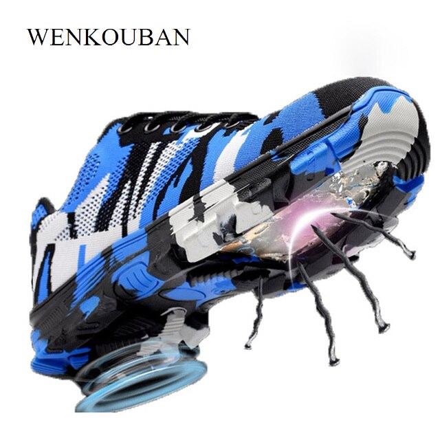 Kamuflaż stali nierdzewnej buty z palcami mężczyźni pracują buty oddychające buty robocze BHP dla człowieka ze stali nierdzewnej odporne na przebicie dla bezpieczeństwa w budownictwie buty