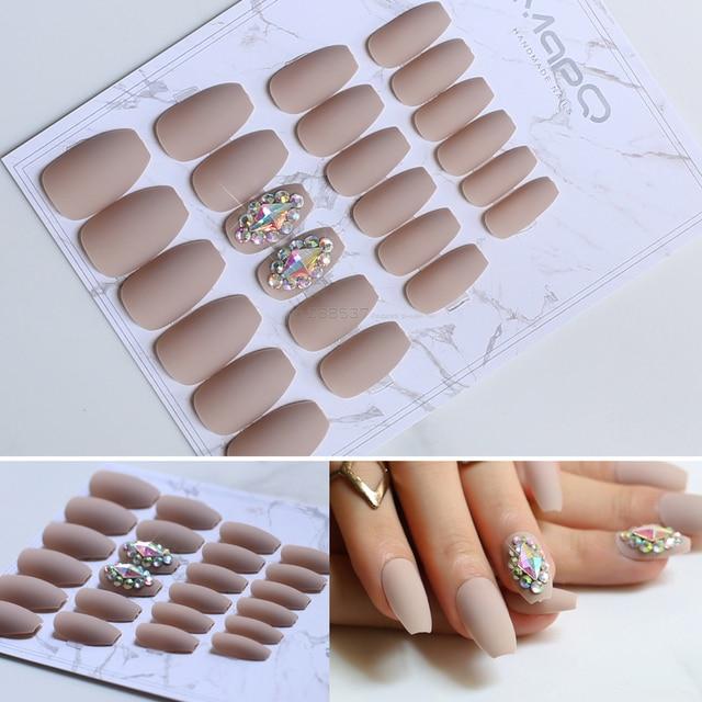 Matte Coffin False Nails Color Full Nail Ballerina Fake 24pcs Tips Flash Design
