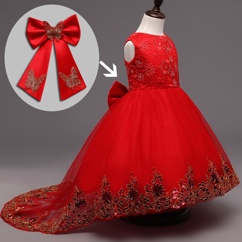 Red Flower Girls Bridesmaid Dress Teenager Evening Gown Long Lace Tail Sequin Kids Wedding Dresses for Birthday Weeding Party 2016 the new bridesmaid dresses bridesmaid dresses long grey spring evening dress female sisters dress party conference