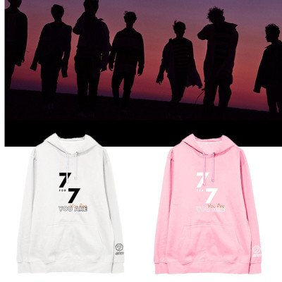 New Kpop GOT7 Group 7FOR7 You Are the Same Style Winter Women Hoody Long Sleeve Korean Version Print Sweat Shirt Hoody with Hat