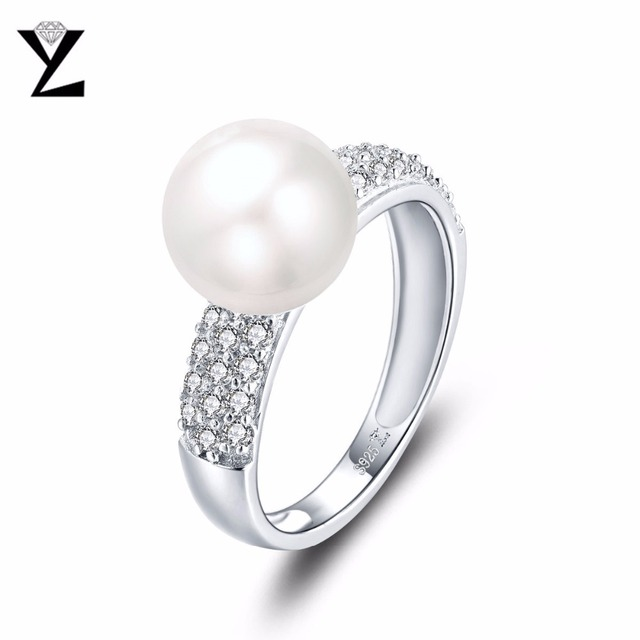YL 925 Sterling Silver 8 mm Freshwater Pearl Ring for Women 3DptxP