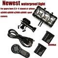 Accesorios gopro impermeable led de luz de flash de vídeo subacuática buceo lámpara de luz de flash de montaje para gopro hero 5 negro 4/3 + xiaomi yi