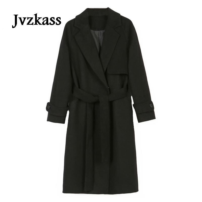 Jvzkass 2019 Fall Winter Women Simple Cashmere Maxi Long belt Robe Coat Female Woolen Outerwear manteau femme abrigos mujer Z13
