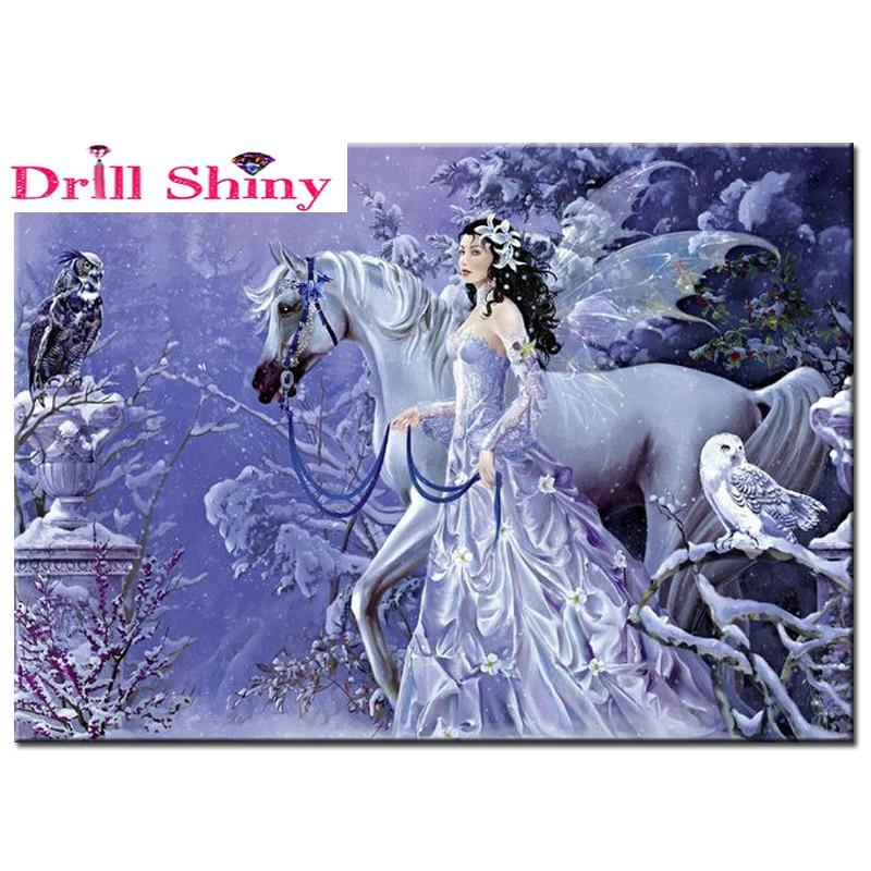 Fahsion Full Resin square Diamond Painting pattern DIY Craft Diamond embroidery girl with horse Needlework Diamond Mosaic icon