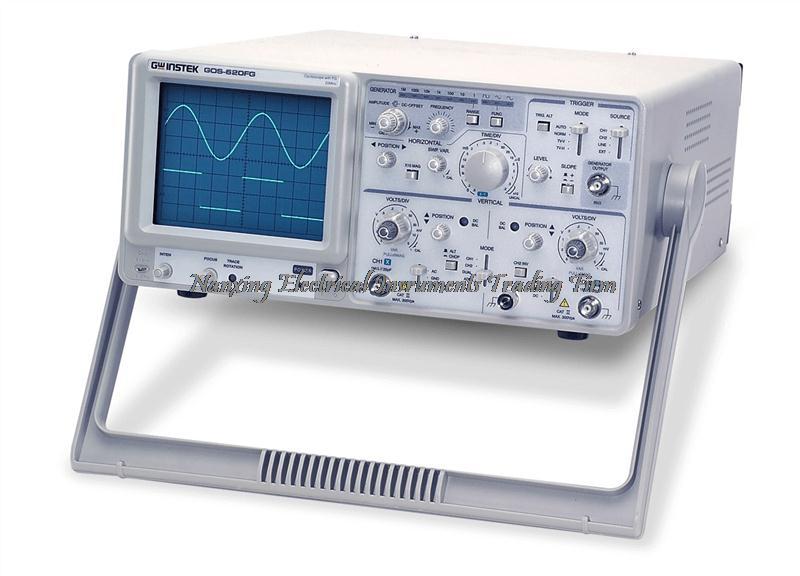 GOS-620FG Gwinstek à arrivée rapide 20 MHz, Oscilloscope analogique à 2 canaux avec générateur de fonction 1 MHz