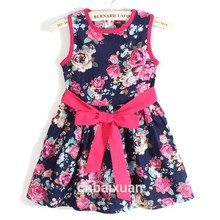 Girls Dress Summer 2018 Baby New Free Shipping for 3-11 Age Vest Bow Floral 3fdbd09f093a