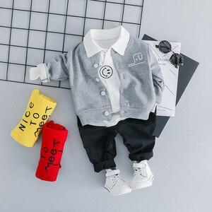 Image 2 - Conjunto de ropa infantil para niños de 1, 2, 3 y 4 años, abrigo de manga larga, camisa y pantalones, 3 uds.