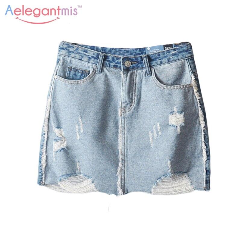 Destroyed Denim Mini Skirt Promotion-Shop for Promotional ...