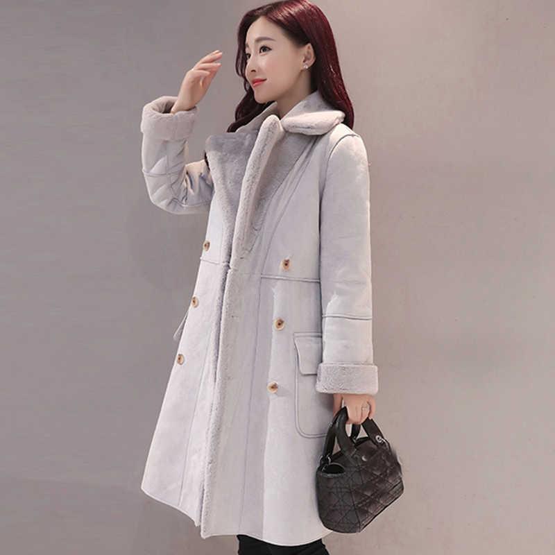 2017 كامل الصلبة بيع جديد الشتاء معطف الشتاء سترة المرأة طويلة معطف الصوف مزدوجة الصدر الأيل الضأن كاذبة واقية QH0617