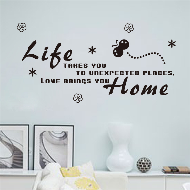 life takes you to unexpected places, love brings you home wall decals quotes living room decorative stickers diy vinyl art black
