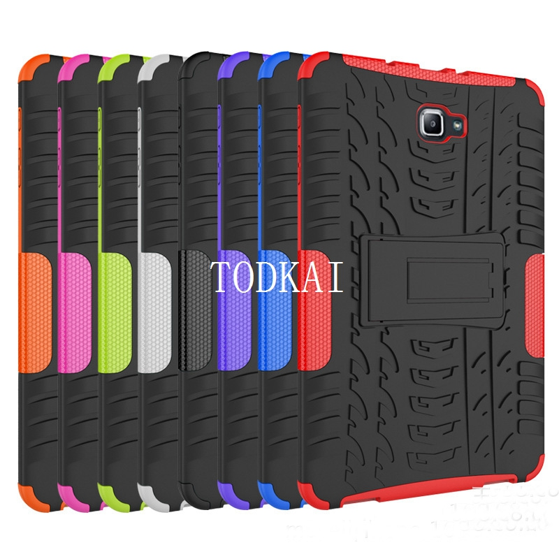 Dazzle Heavy Duty Impact Hybrid Armor Kickstand Hard case For Samsung GALAXY Tab A A6 T580 T580 T585 10.1 '' with Stand Function tire style tough rugged dual layer hybrid hard kickstand duty armor case for samsung galaxy tab a 10 1 2016 t580 tablet cover