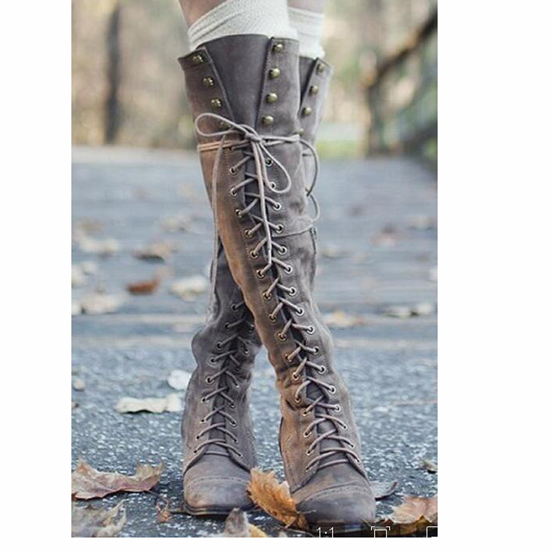 Sexy Ladies Long Spring Autumn High Heels Western Boots Sheos Rivets Lace Up Bandage Square Heels Over The Knee Motorcycle Boots