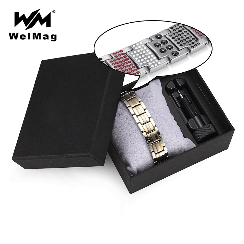 WelMag Titanium Magnetic Therapy Bracelets Fashion Jewelry Christmas Gifts for Men and Women Bracelet Sets Blood Pressure недорого