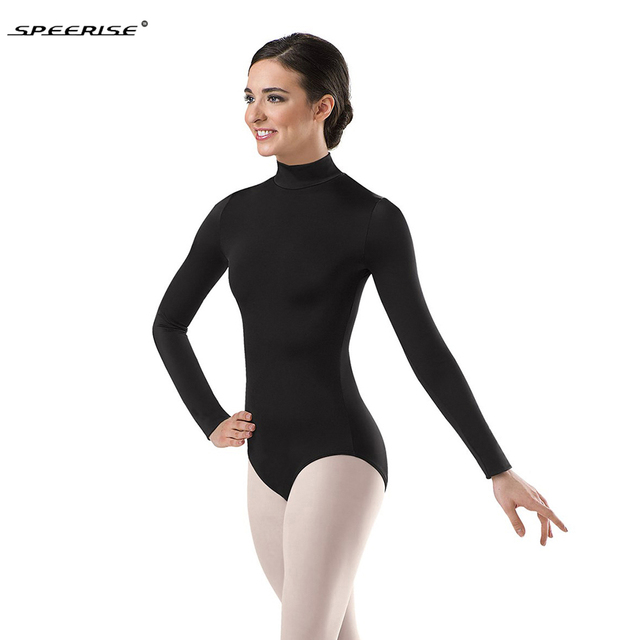 1c8a662b88 Women Long Sleeve Black Leotard Turtleneck Ballet Dancewear Lycra Spandex Leotards  Bodysuit Gymnastics Costumes Unitard