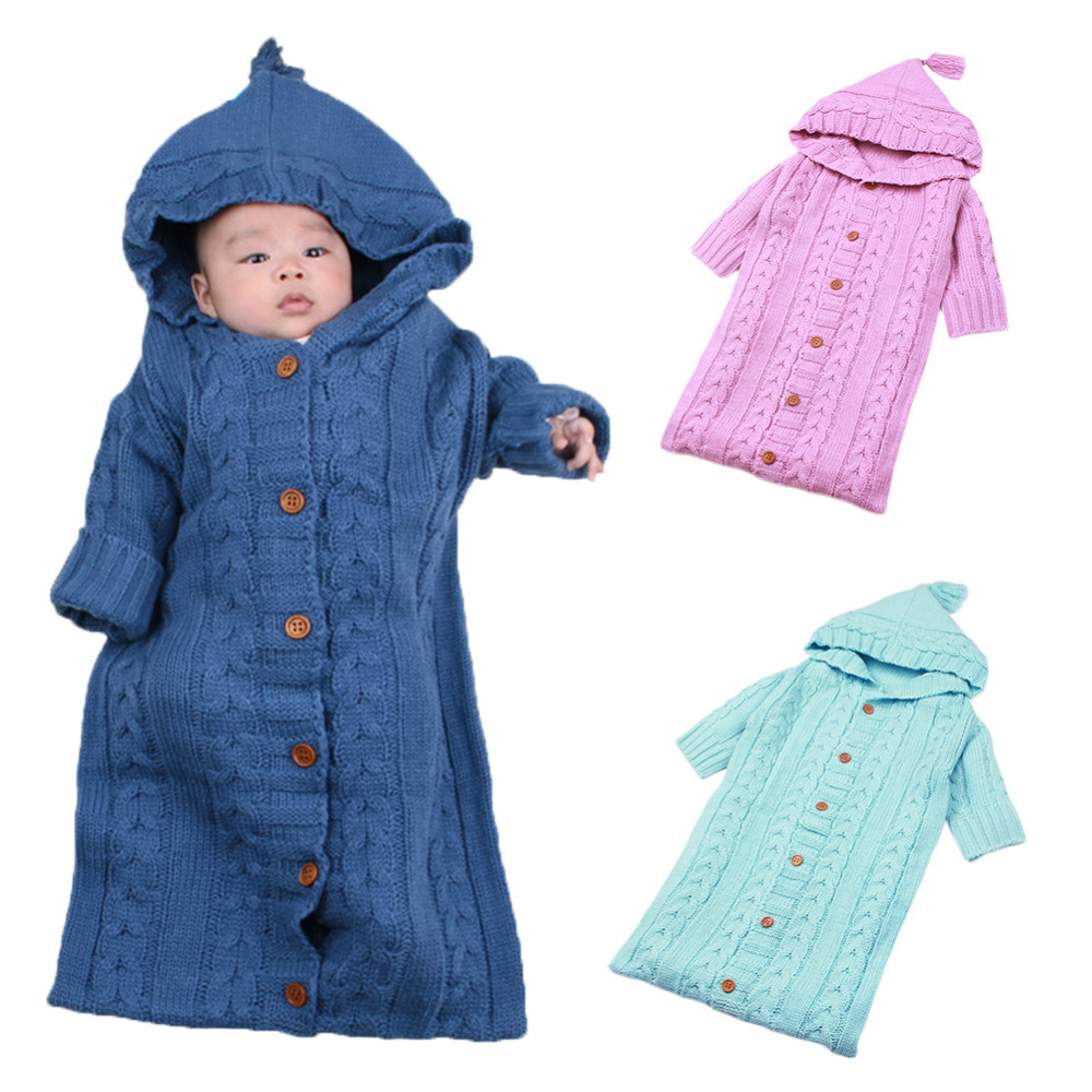 Solid Color Baby Wrap Swaddle Blanket Knit Lovely Sleeping Bag Sack Stroller Wrap for 0- ...