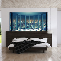 Creative Home Decor 3D Wall Stickers Fake Window Urban Night Scene for Bedroom Wall Decoration Large Size DIY Mural Art Pictures