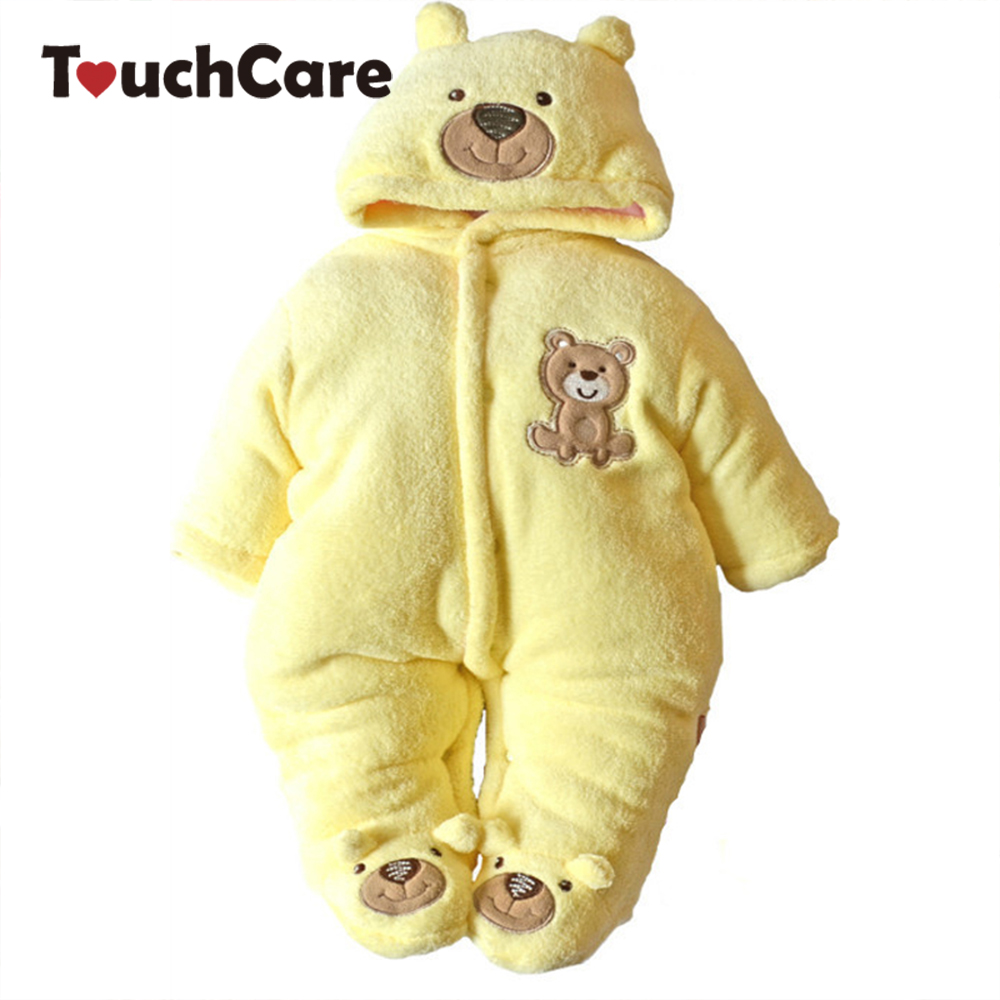 Thick Warm Cotton Fleece Baby Long Sleeve Hooded Romper Baby Girl One Pieces Cute Clothes Jumpsuits Roupas De Bebe Infantil penguin fleece body bebe baby rompers long sleeve roupas infantil newborn baby girl romper clothes infant clothing size 6m