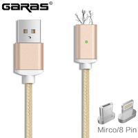 GARAS Magnetic Cable,LightningMicro USB/Type C Charger Adapter Plug For Iphone/Android Magnet Fast Charging Mobile Phone Cables