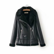 b 2019 Winter Faux Suede Leather Jacket Women Short Faux Lamb Wool Motorcycle Jacket Thick Lambs Wool Warm Coat faux suede zip up motorcycle jacket