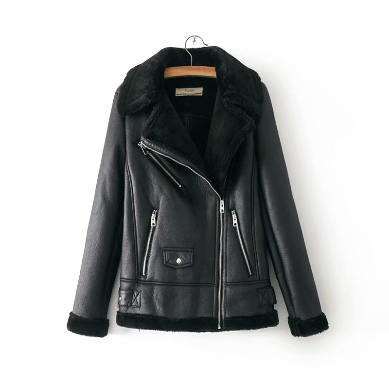 b 2019 Winter Faux   Suede     Leather   Jacket Women Short Faux Lamb Wool Motorcycle Jacket Thick Lambs Wool Warm Coat