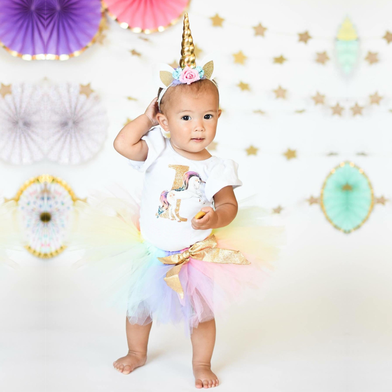 My Baby First Birthday Unicorn Party Rainbow Colorful Fairy Tutu Fluffy Unicorn Dress with Headband Toddler Halloween Costume