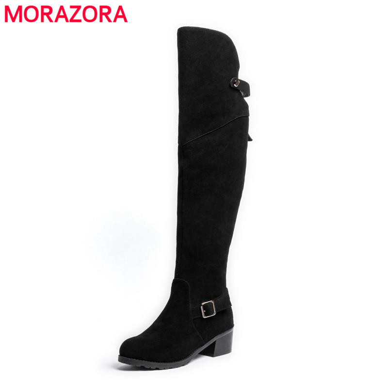 Cow suede nubuck leather round toe over the knee boots square low heel winter zipper fashion boots elegant solid women shoes