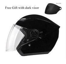 Homens do capacete Da Motocicleta preta vermelho com lenço quente removido e lavado mulheres Moto abrir rosto capacete vem com duas viseiras