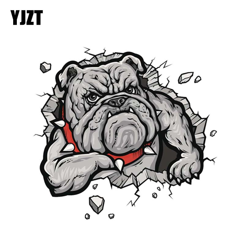 YJZT 13CM*12CM A Ferocious Dog Personality PVC Car Sticker Decal 12-3001