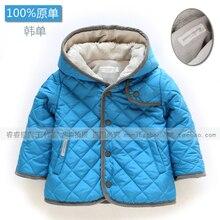 Прохладный ребенок мужского пола зима топ ребенок мальчик ватные куртки мода все-матч детская одежда синий с капюшоном одежда