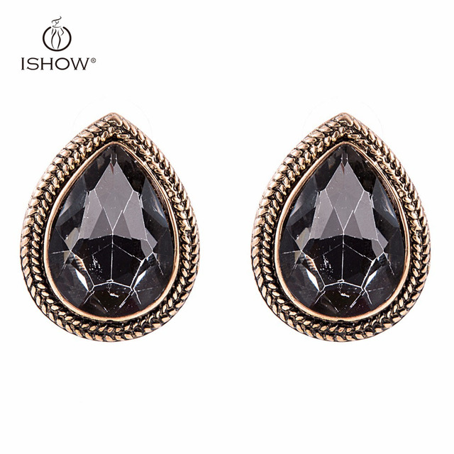 Woman Vintage Wedding Bride Silver Plated Gray Crystal Stud Earrings Heart Teardrop Fashion Gift Female