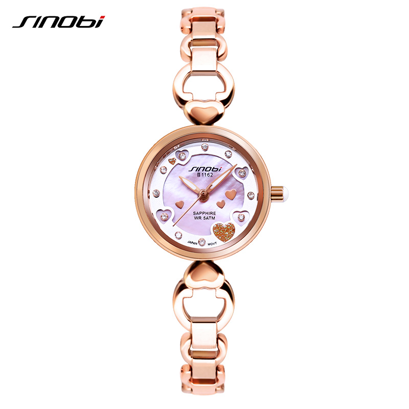 SINOBI Women Watch Luxury Rose Gold Bracelet Watches Ladies Heart Dial Quartz Wristwatch Women Clock 2018 Relogio Feminino #1162 brand kimio luxury women s watches rose gold business crystal women bracelet watches relogio feminino ladies quartz wristwatch