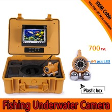 (1 Set) 100M Cable waterproof camera HD 700TVL Dual-pendant Underwater fishing camera 24pcs white LED fish finder Night version