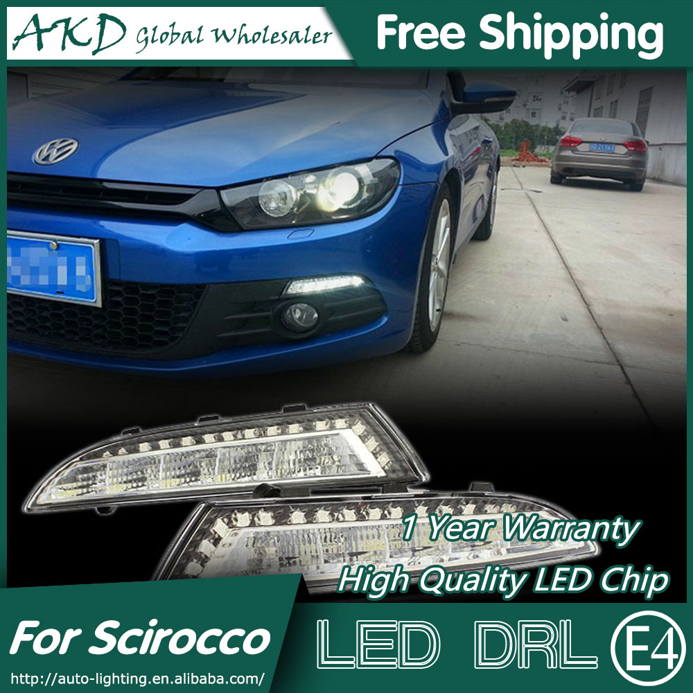 ФОТО AKD Car Styling for VW Scirocco LED DRL 2009-2014 Scirocco LED Daytime Running Light Fog Light Signal Parking Accessories