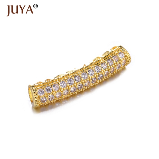 Jewelry Findings Components High Quality Copper Metal Pave AAA Zircon  Rhinestone Curved Tube Beads For Jewelry Making Accessory ae65e9e2bc96
