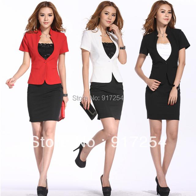 Novo 2015 moda primavera verão das mulheres ternos de negócio com saia das senhoras casaco e saia conjuntos para trabalho desgaste Plus Size XXXL