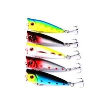 5Pcs 5cm 4.8g Top Water Fishing Lures Popper Crankbait Minnow Hooks