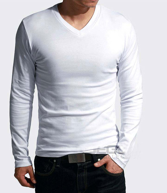 2018 Elastic Mens T-Shirt V-Neck Long Sleeve Men T Shirt For Male Big Size Lycra And Cotton TShirt Business Man Tees