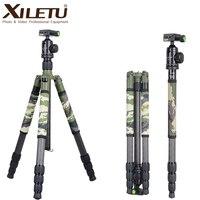 XILETU T284C + FB1 Professional Carbon волокно путешествия штатив Зеленый Камуфляж скрытая подставка для DSLR камера Открытый Охота стрельба