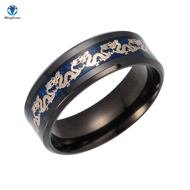 MINGXUAN Vintage China Dragon 316L stainless steel Ring Mens Jewelry for Men lord Wedding Band male