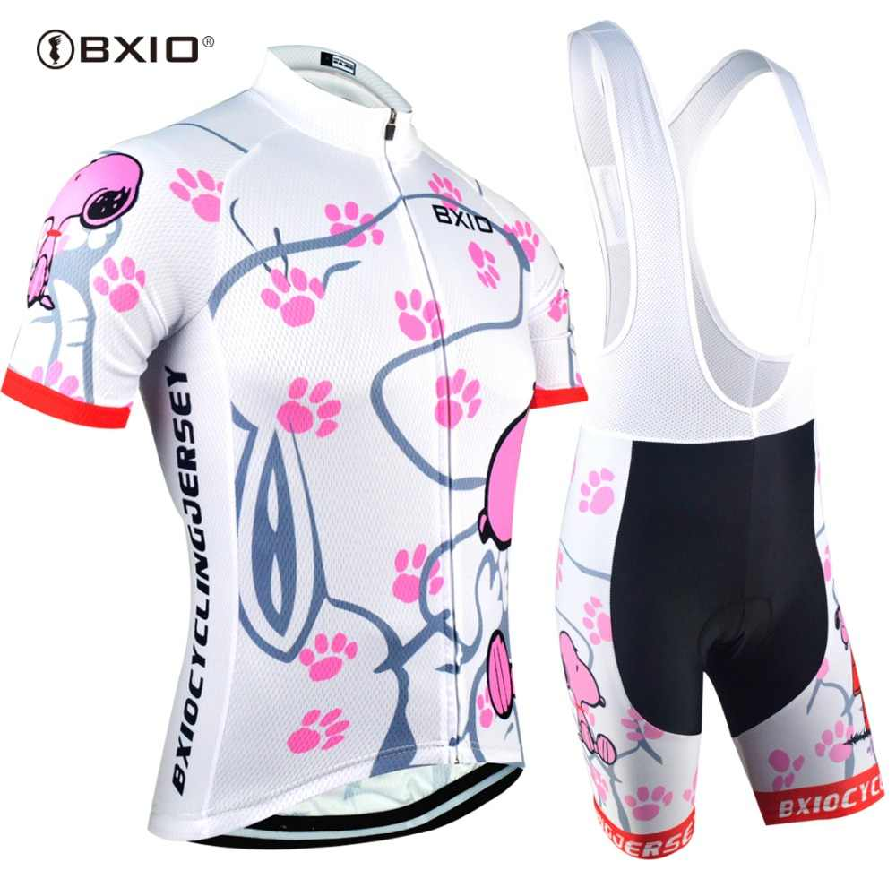 BXIO Womens Pro Cycling Jersey Ropa De Camisa Ciclismo Short Sleeve Bike Clothing Sport Ropa Ciclismo mujer Cycling Jerseys Set