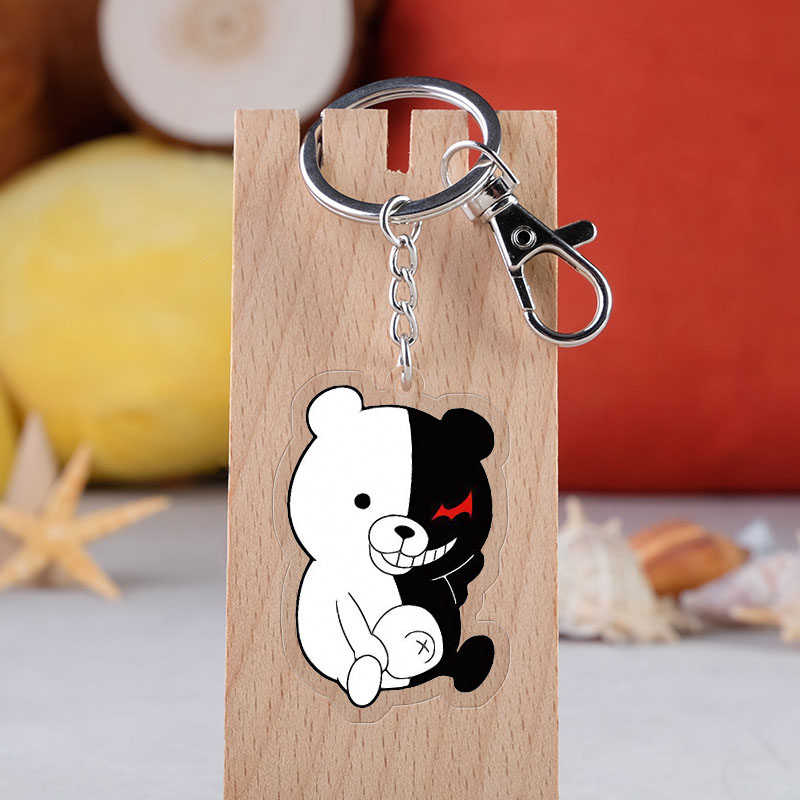 Anime Danganronpa: Trigger Happy Havoc Monokuma Acrylic Keychain Cartoon Transparent Double-sided Pendant Key Ring