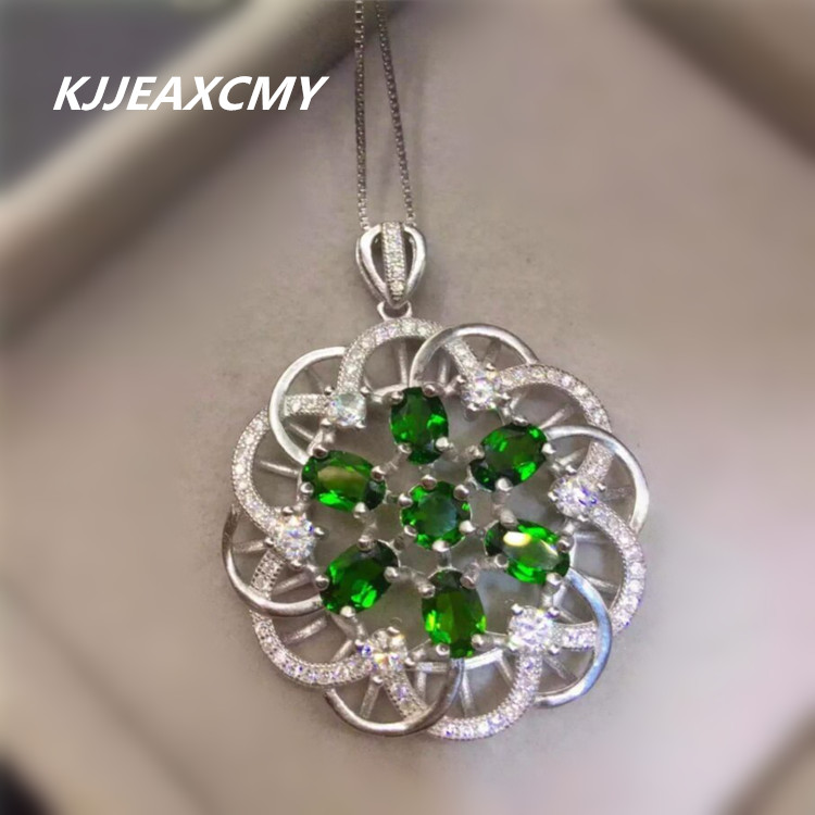 KJJEAXCMY boutique jewelry, Natural diopside pendant inlaid with female jewelry, S925 silver, sterling silver wholesale s925 sterling silver inlaid natural stone thai silver beautiful burning blue brooch female pendant new products