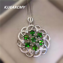 KJJEAXCMY boutique jewelry, Natural diopside pendant inlaid with female jewelry, S925 silver, sterling silver wholesale [silver] deer king gawu box pendant shurangama mantra s925 sterling silver wholesale silver style text