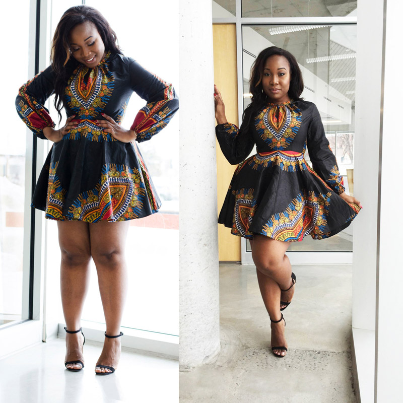 Womens Elegant Autumn Winter Fashion 2019 Long Sleeve Sexy Above Knee Mini Casual Party African Print Skater Dresses Plus Size