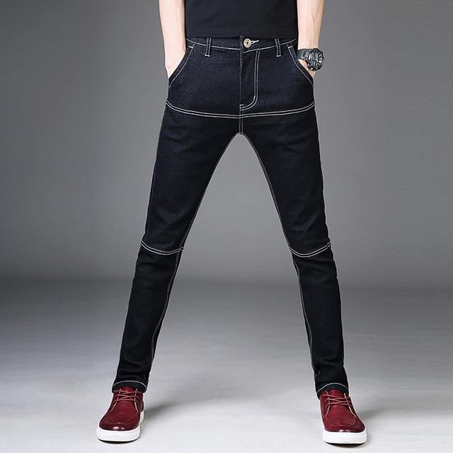 9e170f6ba Jeans Skinny Preta dos homens Patchwork Denim Fino Calça Jeans Nova Moda  Masculina Calças Lápis Elásticas