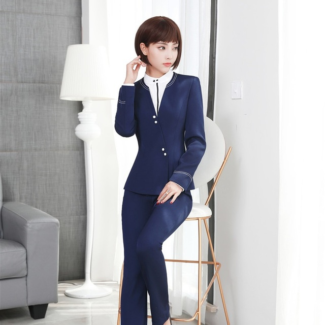 Formal Autumn Winter Formal Uniform Design Pantsuits With Jackets ...