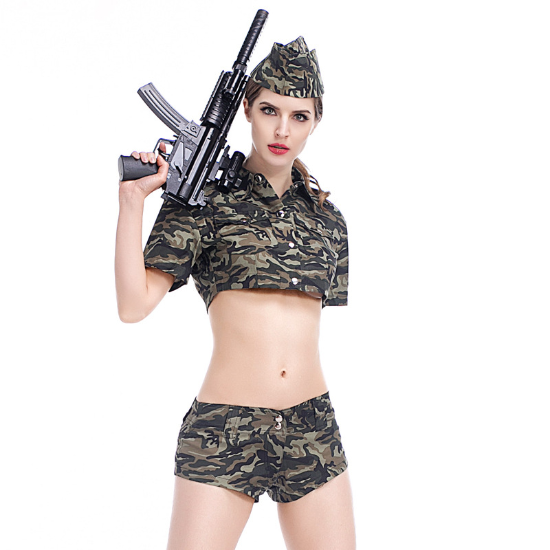 Halloween Cosplay Army Green Military Outfits Suits Fashion New Sexy Women Camouflage Soldier Costumes For Adult