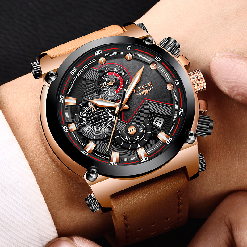 2018 LIGE herrklockor Business Top Luxury Brand Quartz Watch Herr - Herrklockor - Foto 5